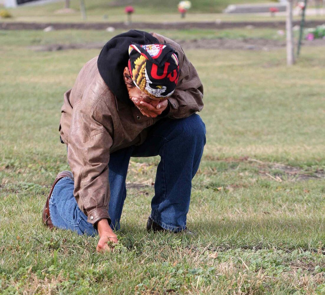 Oct. 2, 2013: Faron Hall gets emotional at his uncle Wilson grave #345 in Brookside Cemetery. Because no family was located when he died he was buried in a numbered grave plot. Faron was in jail when he passed away