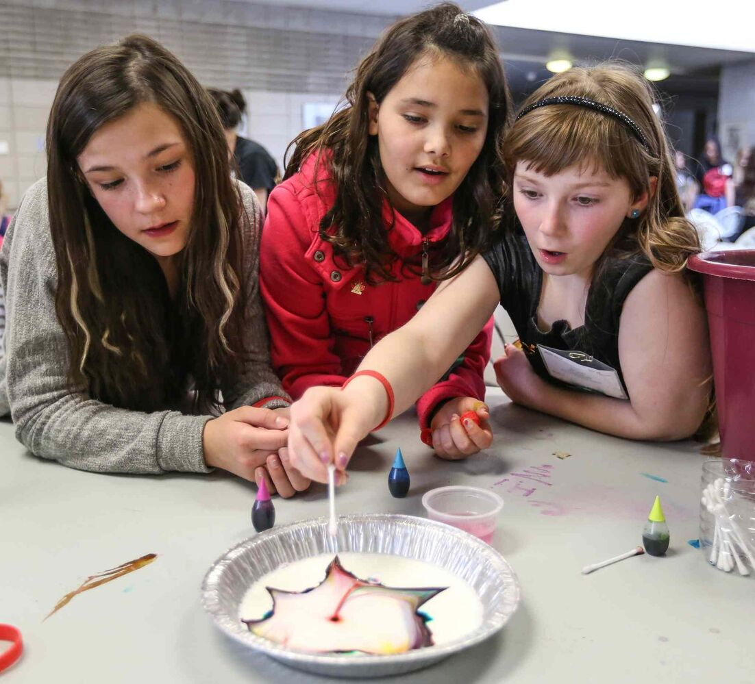 Stanley Knowles School students experiment with 'exploding milk' at the 44th annual Winnipeg Schools' Science Fair Wednesday. From left, Kylie Williamson, Grade 6, with Grade 4 students Danielle Sutherland and Skylar Campbell.