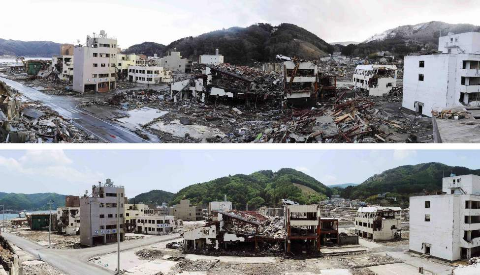 In this combo of two photos, buildings are surrounded by debris in Onagawa, Miyagi prefecture, northeastern Japan, on March 16, 2011, days after the devastating earthquake and tsunami hit the area, top, and the same area, bottom, with the debris almost cleared as photographed on June 3, 2011. Japan marks three months since the March 11 earthquake and tsunami that struck the nation's eastern coast on Saturday, June 11, 2011. (AP Photo/Kyodo News)