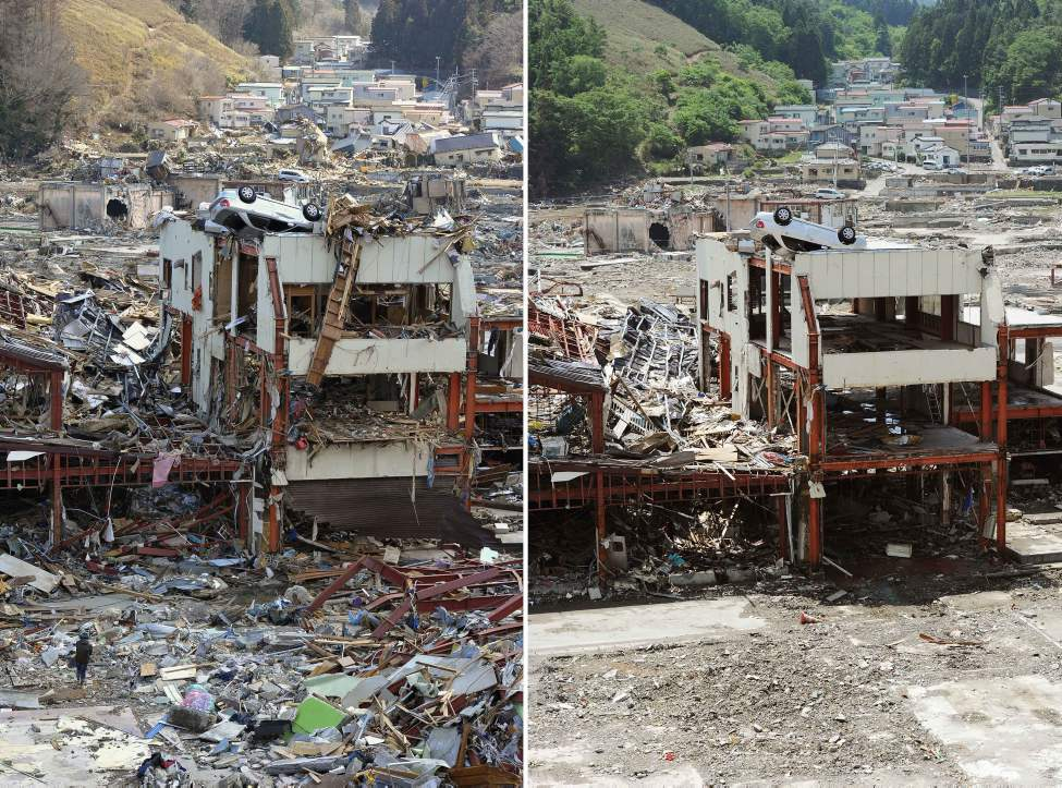 In this combo of two photos, an overturned car sits on the rooftop of a damaged building after being swept away by tsunami March 18, 2011, left, and the car still stays in the same position on the building while its surrounding area is almost cleaned up June 3, 2011 in Onagawa, Miyagi Prefecture, northeastern Japan. Japan marks three month since the March 11 earthquake and tsunami Saturday, June 11, 2011. (AP Photo/Kyodo News)