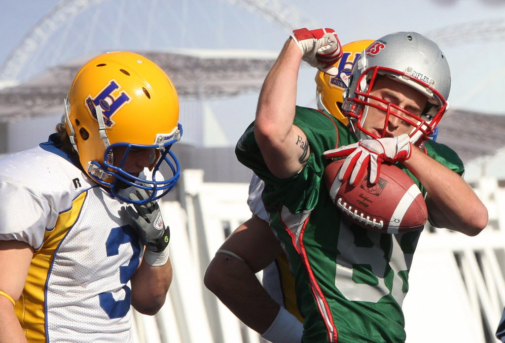 In a 2011 file photo, Winnipeg Rifles receiver Kurt Goodrich hauls one in against Saskatoon.