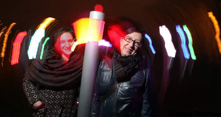 Alix Sobler (left) and Tricia Wasney pose in Central Park's new interactive art installation.