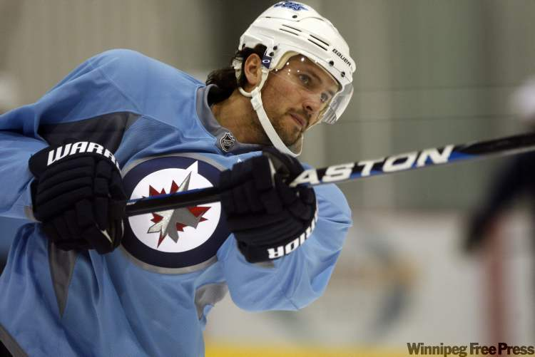 Winnipeg Jets defenceman No. 6 Ron Hainsey  during practice  at the MTS Iceplex Wednesday.