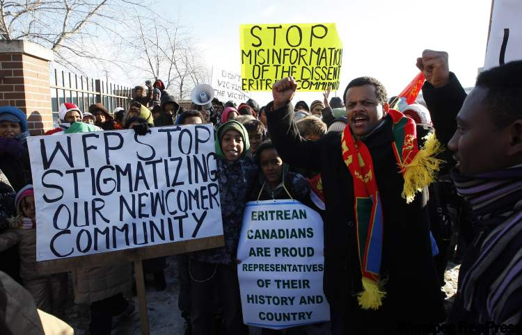 A group of Eritrean demonstrators marched outside of the Winnipeg Free Press this afternoon.