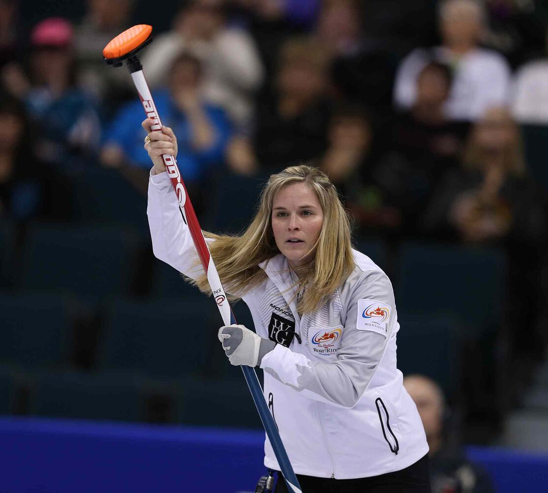 Skip Jennifer Jones celebrates after a shot. (Jason Halstead / Winnipeg Free Press)