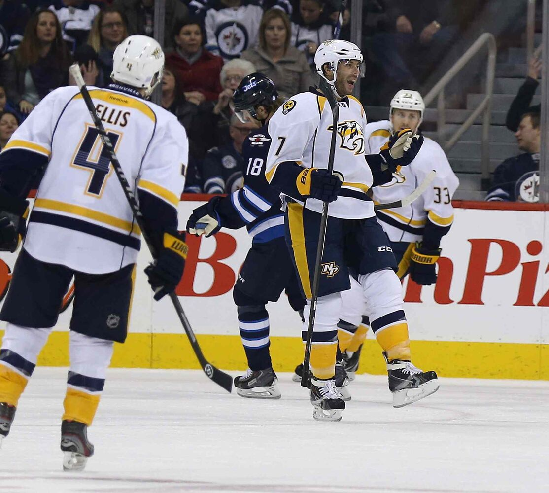 Nashville Predators' Matt Cullen (7) celebrates after scoring against the Winnipeg Jets during the second period. (TREVOR HAGAN / THE CANADIAN PRESS)
