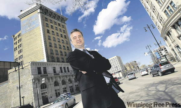 Red River College president Jeff Zabudsky hopes to turn the Union Bank Tower into a 100-unit student residence and culinary arts school.