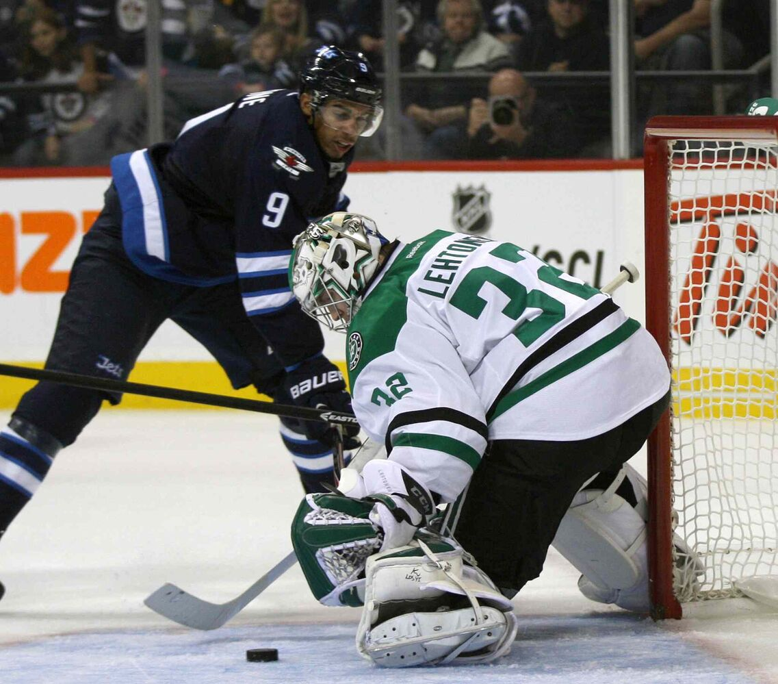 Evander Kane gets a shot on Dallas Stars goaltender Kari Lehtonen during the second period. (JOE BRYKSA / WINNIPEG FREE PRESS)