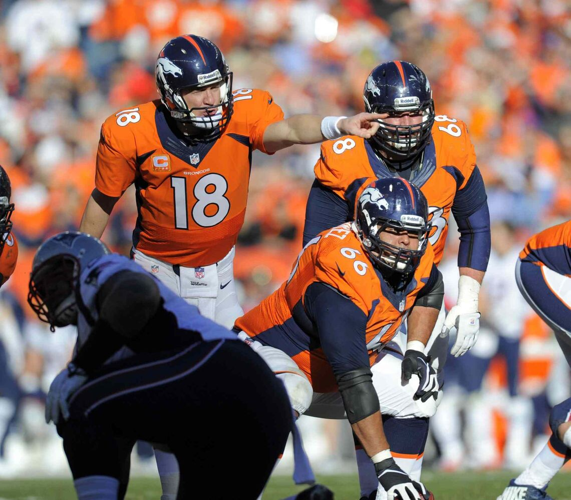 Broncos quarterback Peyton Manning yells audibles in the third quarter of the AFC championship game in Denver on Sunday. (Mark Reis / Tribune Media MCT)