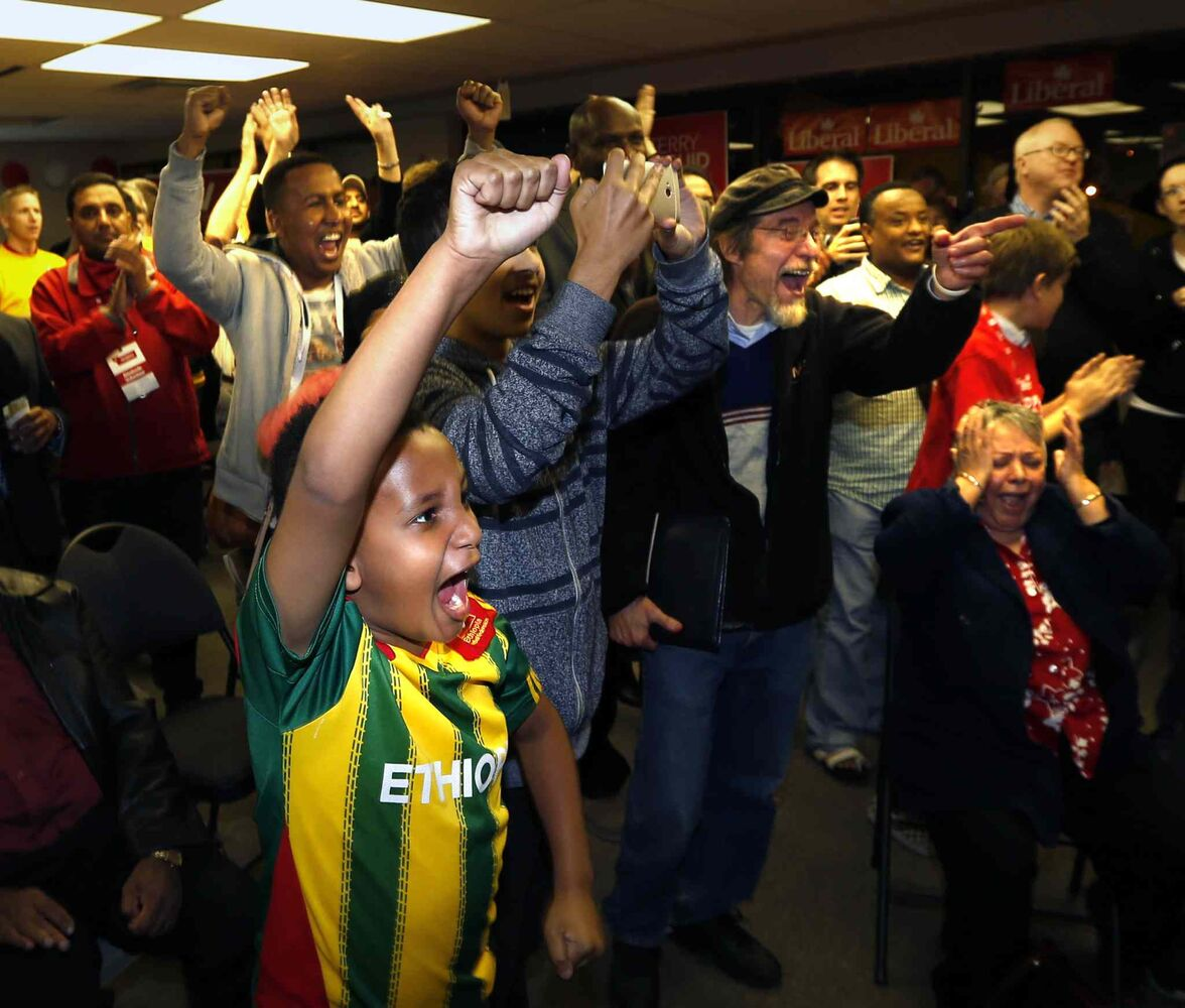 Liberal candidate Terry Duguid supporters at his Winnipeg South HQ Monday night.  (Wayne Glowacki / Winnipeg Free Press)