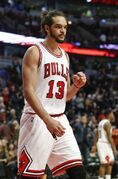 Chicago Bulls center Joakim Noah reacts after the final buzzer of an NBA basketball game against the Washington Wizards, Tuesday, March 3, 2015, in Chicago. The Bulls won 97-92. (AP Photo/Kamil Krzaczynski)