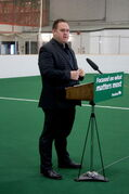 Gateway Recreation Centre president Andrew Skogen speaks at a press conference announcing $7.5 million in provincial funding for community centre and non-profit recreation group on May 14.