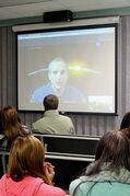 Canadian Space Agency astronaut David Saint-Jacques speaks to Argyle Alternative High School students via Skype at the school's career fair on Nov. 6.