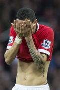 Manchester United's Angel Di Maria reacts after a missed opportunity before being substituted at half time during his team's English Premier League soccer match between Manchester United and Sunderland at Old Trafford Stadium, Manchester, England, Saturday Feb. 28, 2015. (AP Photo/Jon Super)