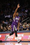 Sacramento Kings' Rudy Gay celebrates after making a 3-point basket during the second half of an NBA basketball game against the New York Knicks on Tuesday, March 3, 2015, in New York. (AP Photo/Frank Franklin II)