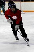 Wolverines forward Destyni Chiborak carries the puck up ice during a practice in the 2013-2014 WWHSHL season. Chiborak is leading the Wolverines and the WWHSHL in goals, 30, and points, 40.
