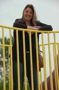 Mission Gardens resident Lisa Webinger is shown at the new Bernie Wolfe Community School play structure. She chaired the school's parents' association while fundraising for the upgrade, which was unveiled in 2010.