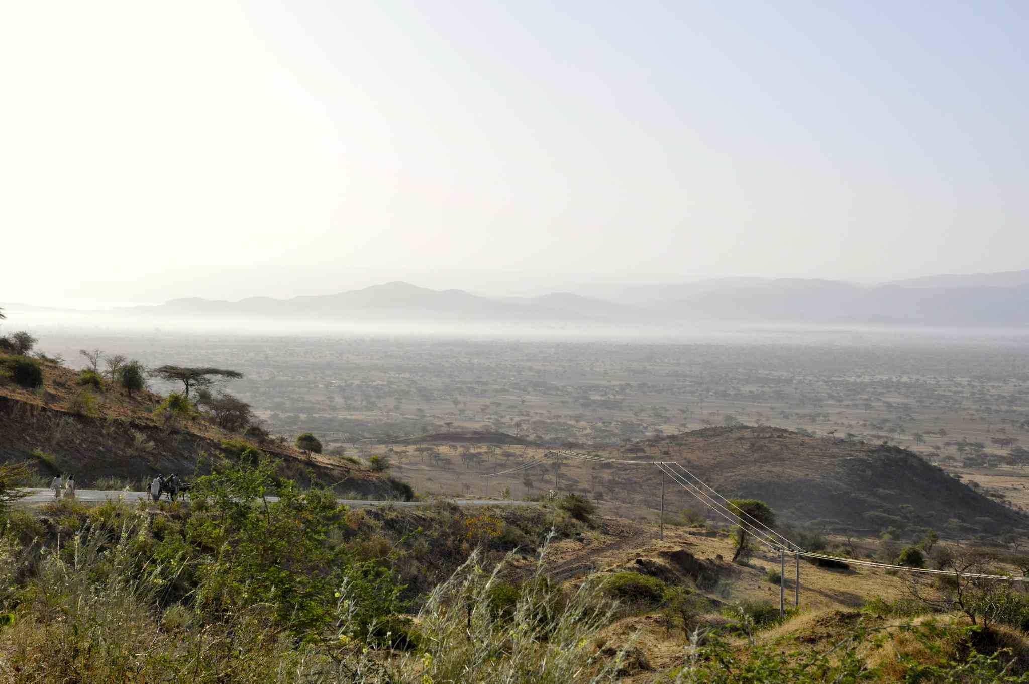 A dusty hazy, caused by eroded soils, hangs over the Great Rift Valley in southern Ethiopia.