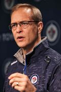 """'""""The three major defensive even-strength systems ... we are changing something,' says Paul Maurice at the first media conference of the 2014-15 NHL season at MTS Centre."""