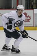Nikolaj Ehlers (pictured) and Adam Lowry are knocking loudly on the door to a spot on the Winnipeg Jets roster.
