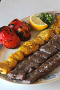 Chicken kabob, kabob koubbideh and barg at George's Inn and Submarine.
