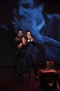 Divine Brown, left, and Raoul Bhaneja perform in Life, Death and the Blues.