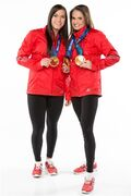 Olympic gold medallists Meaghan Mikkelson (right) and Natalie Spooner won their fifth leg of