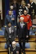 Premier Greg Selinger enters the chamber with Lt.-Gov. Philip Lee prior to the throne speech Thursday.