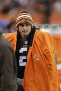 FILE - In this Dec. 14, 2014 file photo, Cleveland Browns quarterback Johnny Manziel watches from the sidelines in the fourth quarter of an NFL football game against the Cincinnati Bengals in Cleveland. A person familiar with the situation says Manziel has been released from a rehab facility. Manziel entered the undisclosed clinic Jan. 28 for treatment of an unspecified problem. The person said he was discharged Saturday, April 11, 2015, speaking on condition of anonymity because of privacy issues. (AP Photo/Tony Dejak)