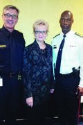 From left to right: Sgt. Ron Johansson, Charleswood MLA Myrna Driedger and Winnipeg Police Chief Devon Clunis.