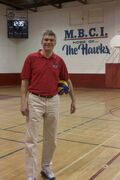 Mennonite Brethen Collegiate Institute varsity boys' volleyball head coach Brian Plett is shown at the school.