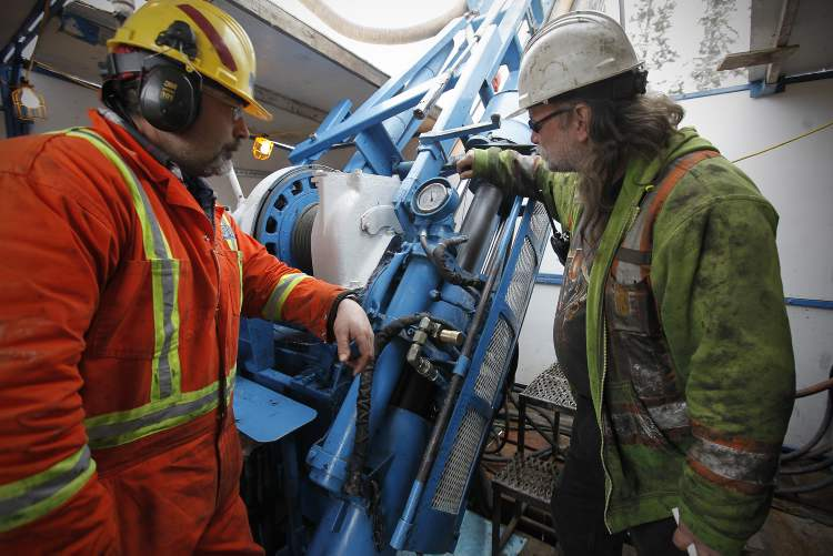 Andrew Cann (right) and Mark Patterson drill 80 metres of quartz rock core samples during every 12-hour shift.