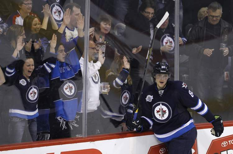 Winnipeg forward Nik Antropov celebrates his 12th goal of the season. The second-period marker gave the Jets a 2-1 lead Friday night.