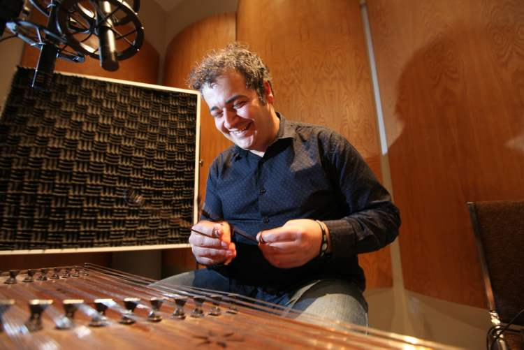 """Santur player/composer Amir Amiri at a recording session for  his upcoming CD. """"If I had stayed (in Iran) I would be dead now."""""""