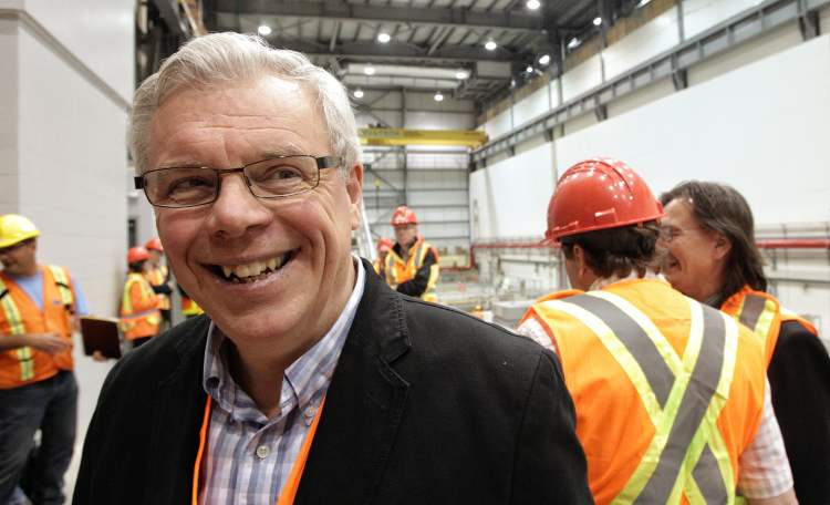 Premier  Selinger smiles after  touring Wuskwatim Generating Station on July 5.