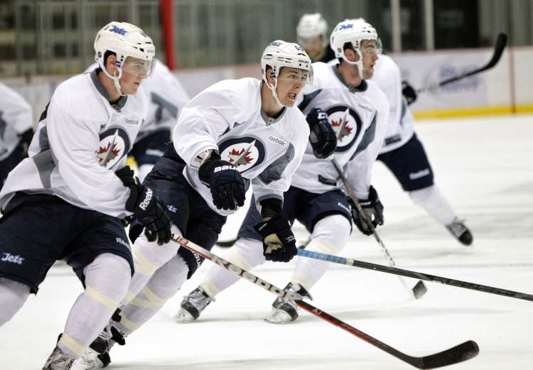 Mark Scheifele , centre, on Tuesday during development camp.