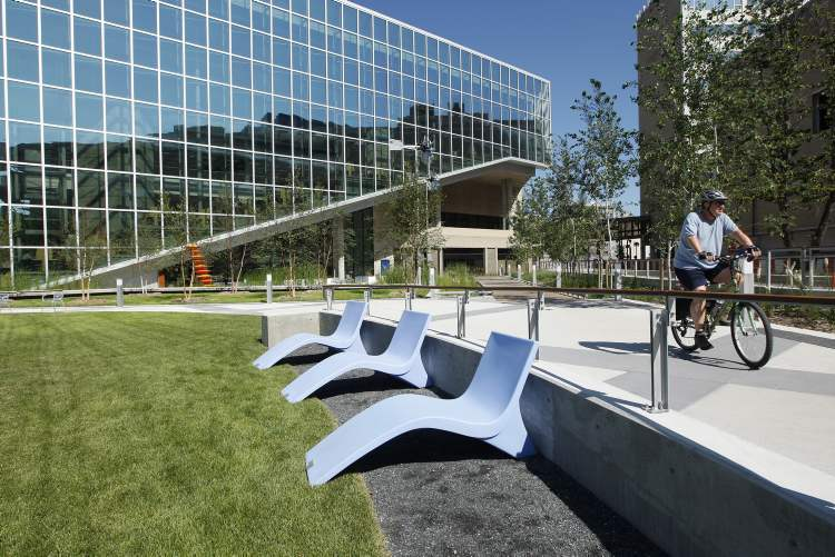 Lounge chairs are placed in the Millennium Plaza grounds at the Millennium Library Park.