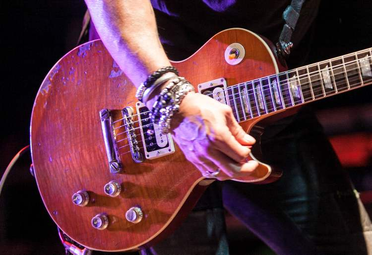 Slash's beat-up Les Paul guitar, sen during his Saturday night performance at the Burton Cummings Theatre.