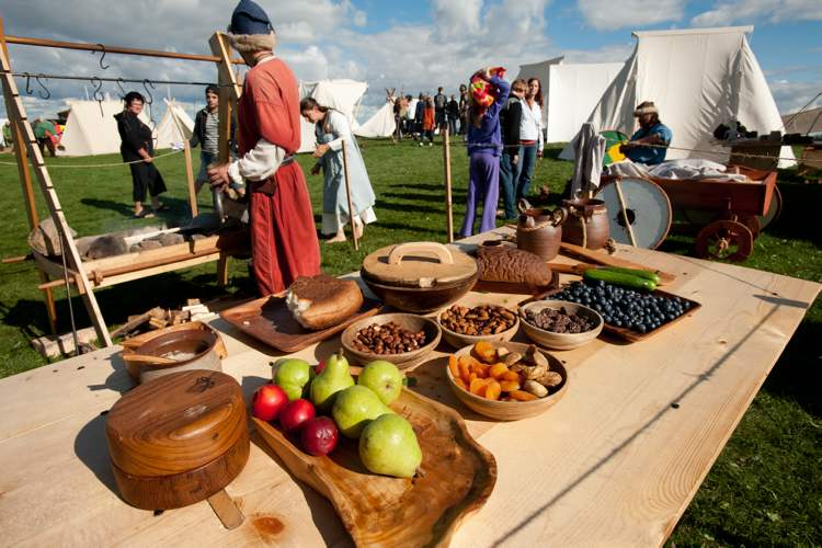 A Viking feast on display at the Icelandic Festival in Gimli, Saturday.