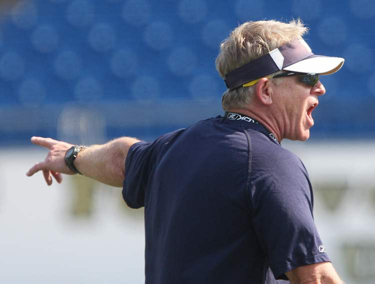 The Winnipeg Blue Bombers' new head coach Tim Burke made his debut as commander of practice Tuesday at Canad Inns Stadium- He promised fast-paced practices and he delivered.