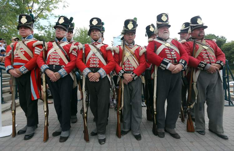 The Forces of Lord Selkirk stand at the ready at The Forks on Sunday.