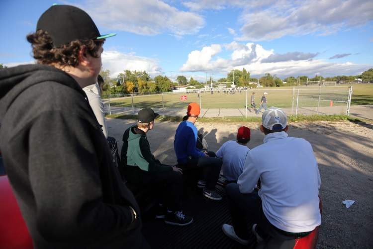 Spectators watch as the Garden City Gophers defeat the Dakota Collegiate Lancers 13-12.