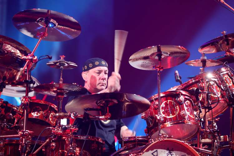 Neil Peart performs at the MTS Centre Wednesday evening. (Rugh Bonneville / Winnipeg Free Press)