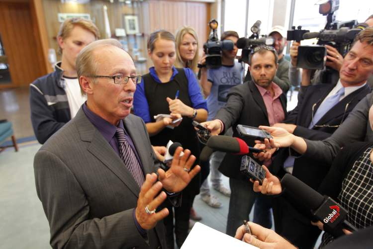 Mayor Sam Katz faces the press at city hall following Thursday's council meeting.