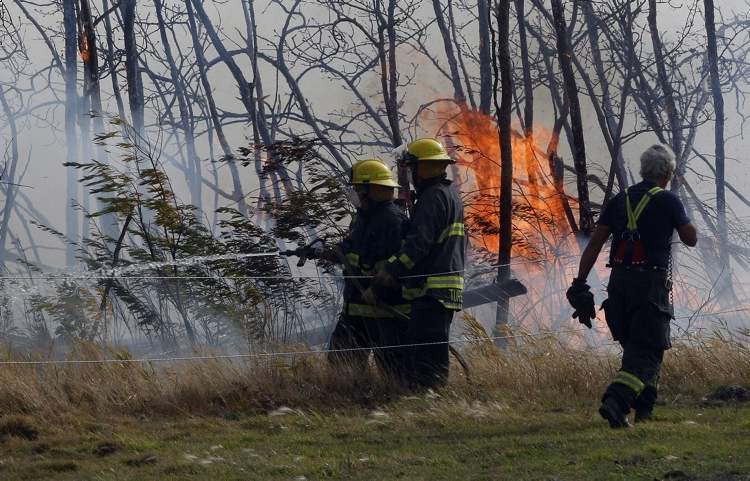 Firefighters battle a raging  brush fire that is threatening homes in the area of 1680 Loudoun Road.