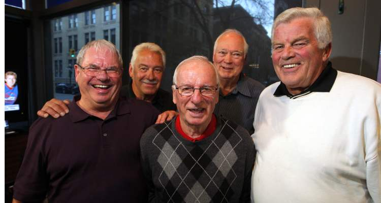 Former WHA Jets at the Free Press News Café. From left: Joe Daly, Dunc Rousseau, Bill Sutherland, Ab McDonald, Duke Asmundson.