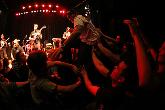 Winnipeg thrash-punk band Propagandhi performs a sold-out show at the West End Cultural Centre as part of the Ellice Avenue venue's 25th anniversary celebration.  (Trevor Hagan / WINNIPEG FREE PRESS)