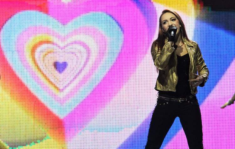 Victoria Duffield performs at We Day at the MTS Centre Tuesday.