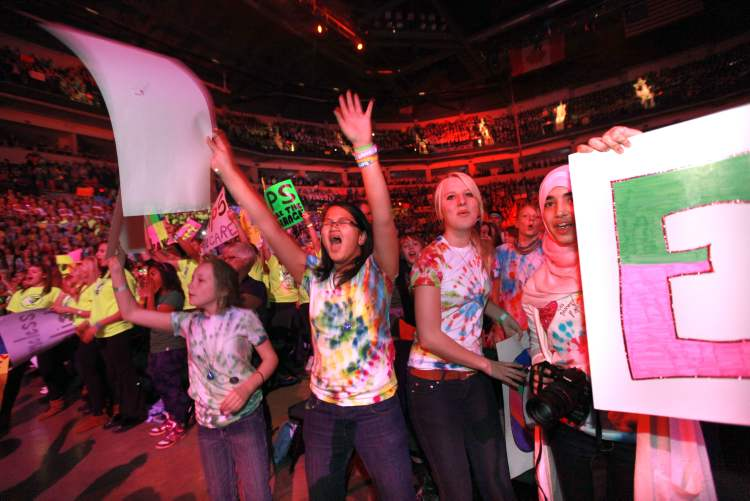 The annual We Day celebrations  in Winnipeg today with several iconic social activists and entertainers taking the stage at MTS Centre infront of 18,000 kids from around 400 schools from all over Manitoba. (RUTH BONNEVILLE / WINNIPEG FREE PRESS)