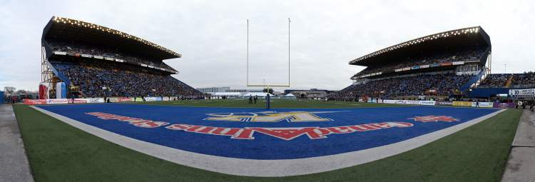 Panorama created from multiple images of WInnipeg Blue Bombers versus Montreal Alouettes during CFL action in the final game at Canad Inns Stadium, Saturday, November 3, 2012.